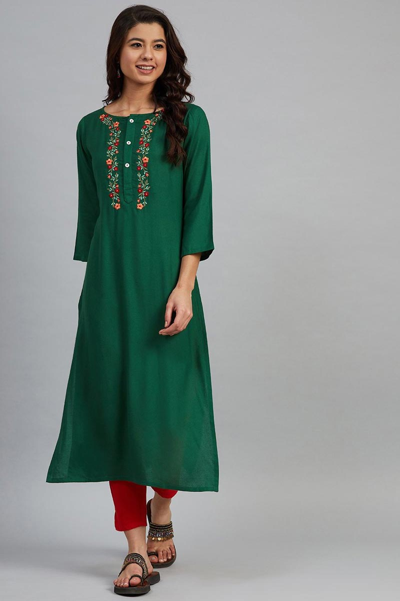 Exclusive Green Color Rayon Fabric Chic Regular Wear Kurti