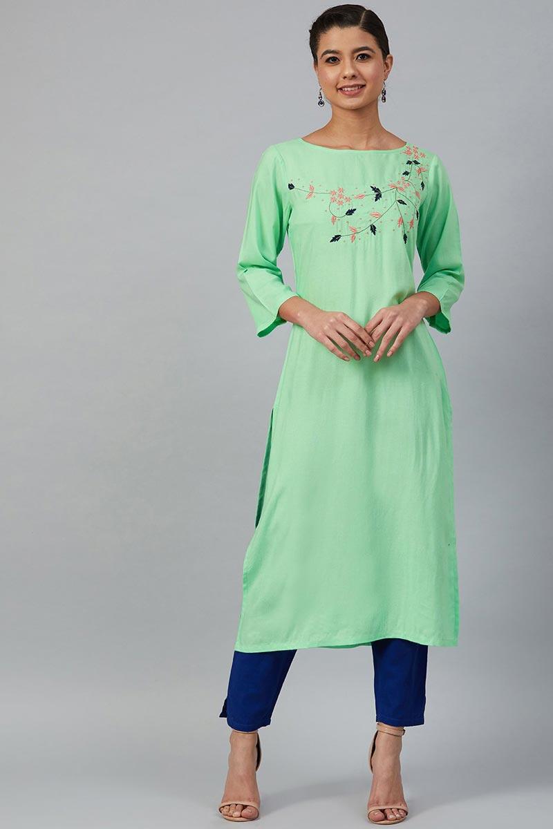 Exclusive Chic Regular Wear Rayon Fabric Sea Green Color Kurti