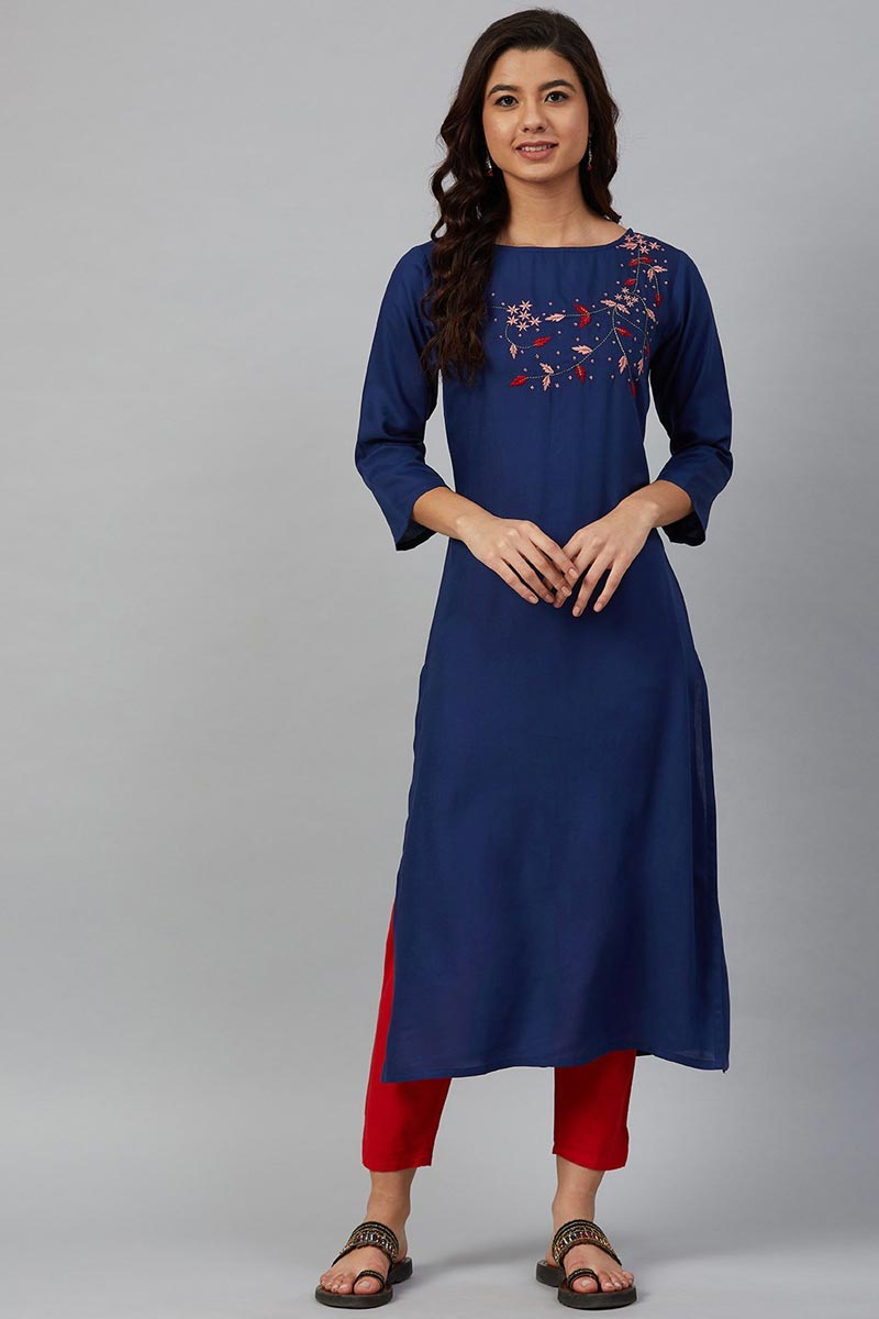 Exclusive Blue Color Chic Regular Wear Kurti In Rayon Fabric