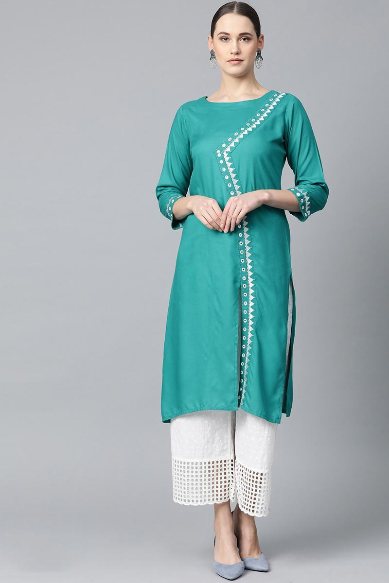 Exclusive Rayon Fabric Chic Regular Wear Cyan Color Kurti