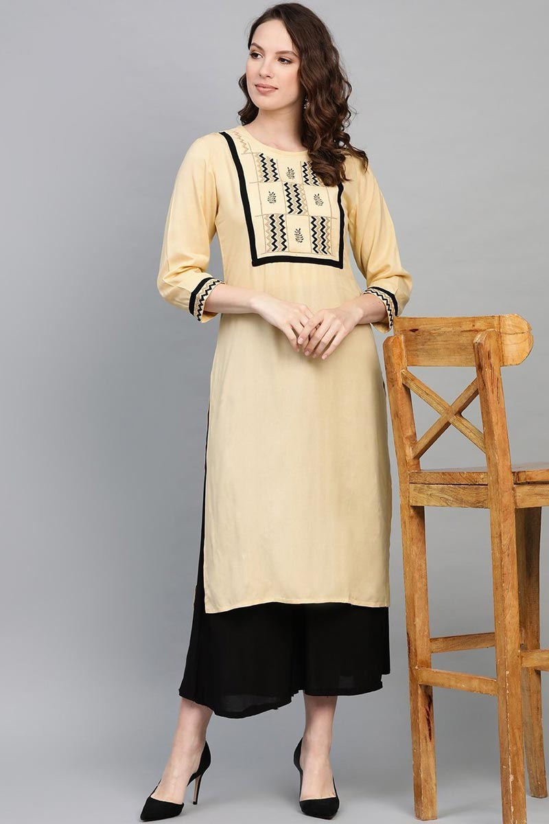 Exclusive Chic Rayon Fabric Beige Color Regular Wear Kurti