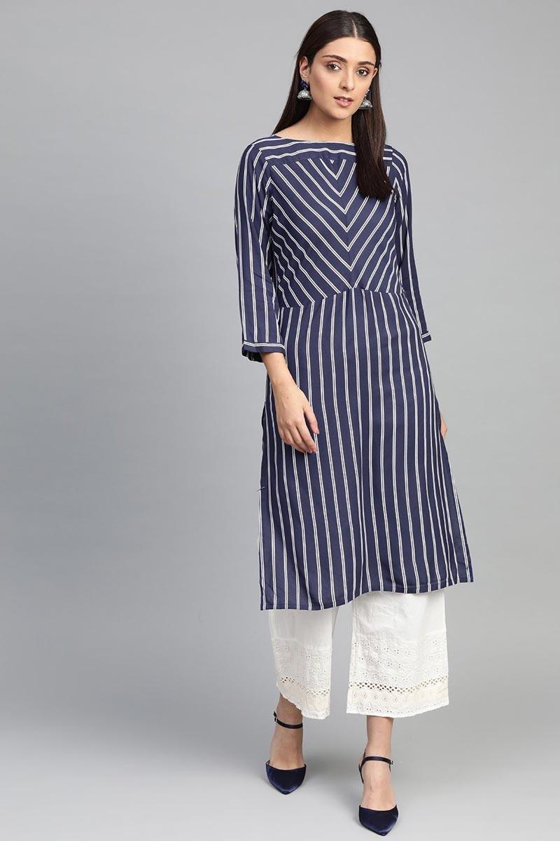 Exclusive Rayon Fabric Blue Color Chic Regular Wear Kurti