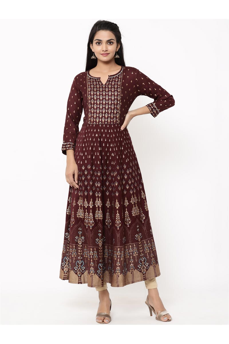 Exclusive Printed Maroon Jaal Style Anarkali Type Kurta