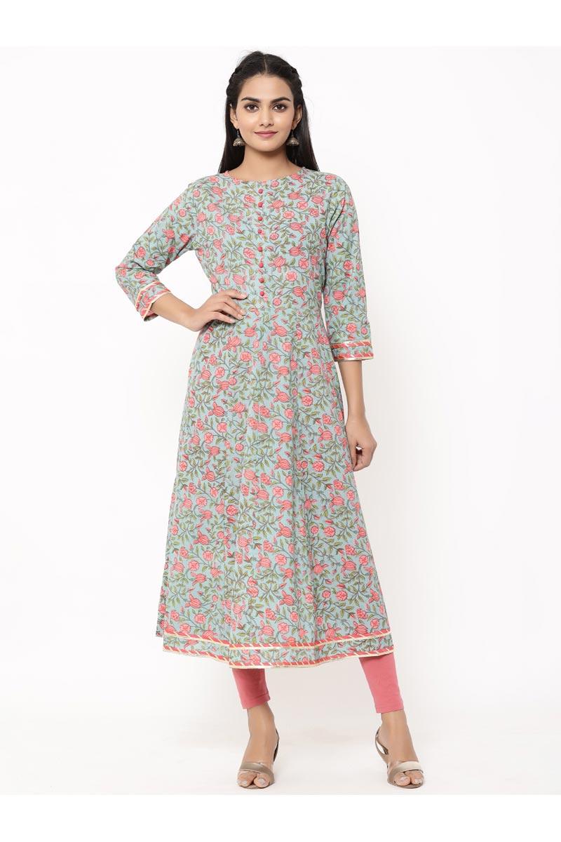 Exclusive Sea Green Printed Floral Print Jaal Style Anarkali Type Kurta