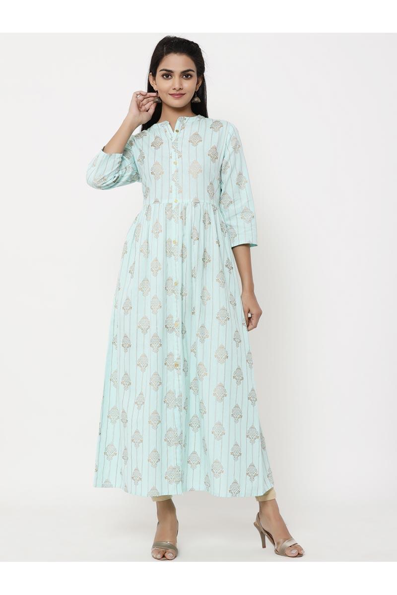 Exclusive Printed Sea Green Jaal Style Anarkali Type Kurta
