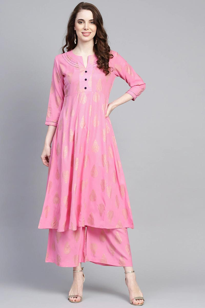 Exclusive Pink Color Viscose Fabric Kurta With Bottom Set