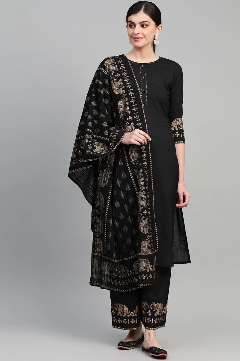 Exclusive Black Color Cotton Fabric Kurta Bottom Dupatta  Set