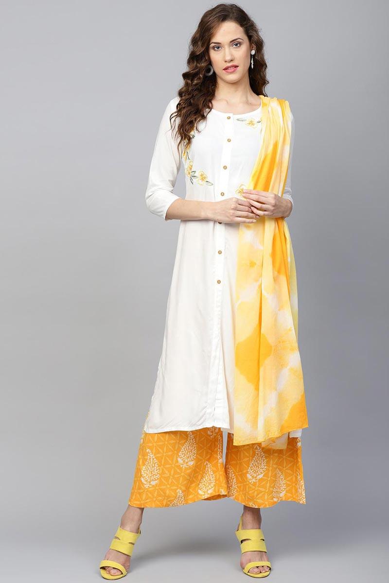 Exclusive White Color Viscose Fabric Kurta Bottom Dupatta  Set