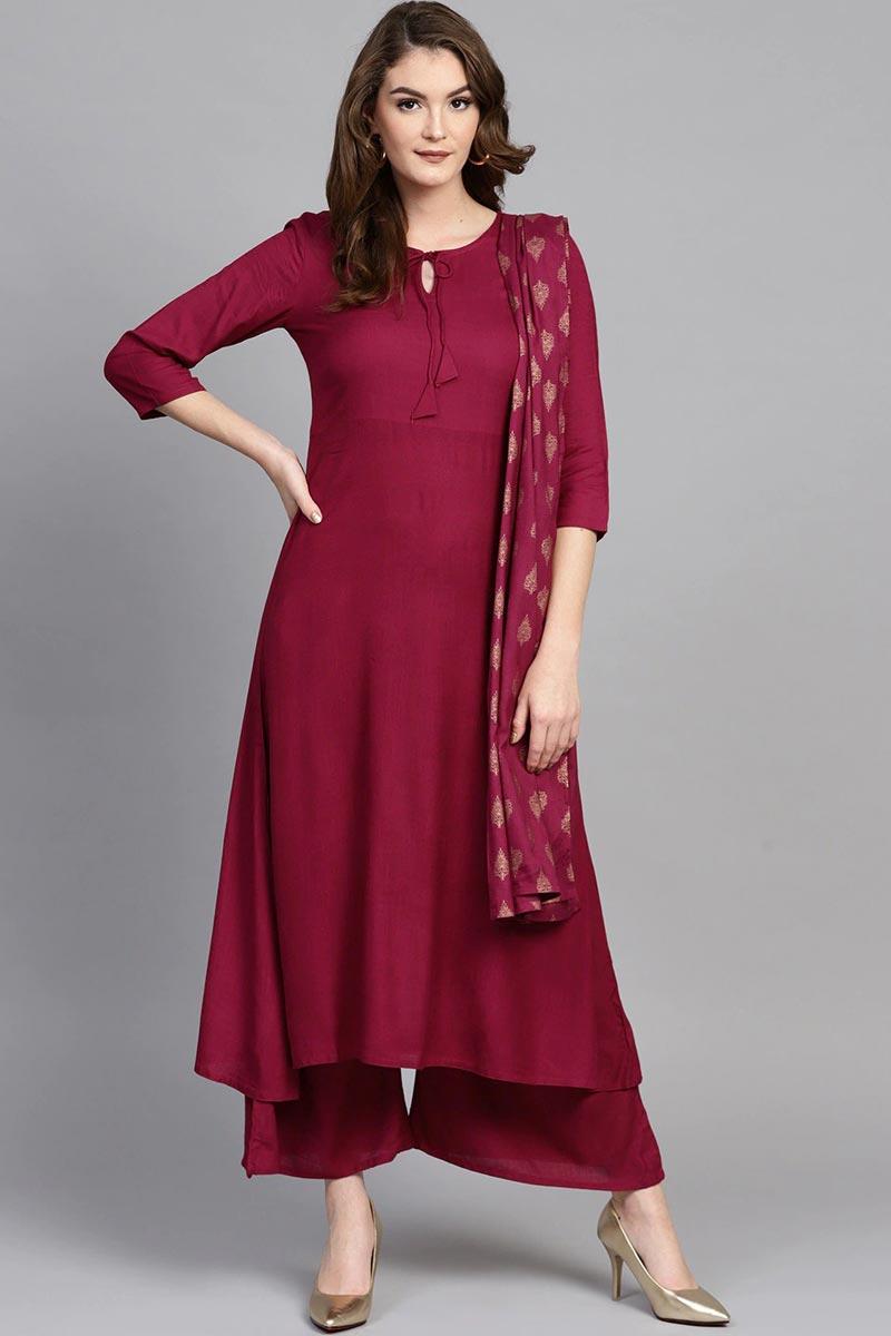Exclusive Burgundy Color Viscose Fabric Kurta Bottom Dupatta  Set