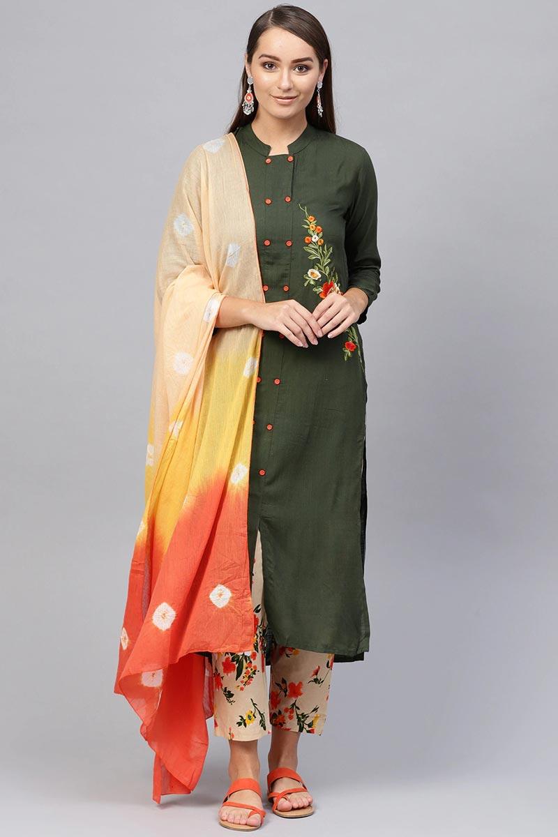 Exclusive Mehendi Green Color Viscose Fabric Kurta Bottom Dupatta  Set