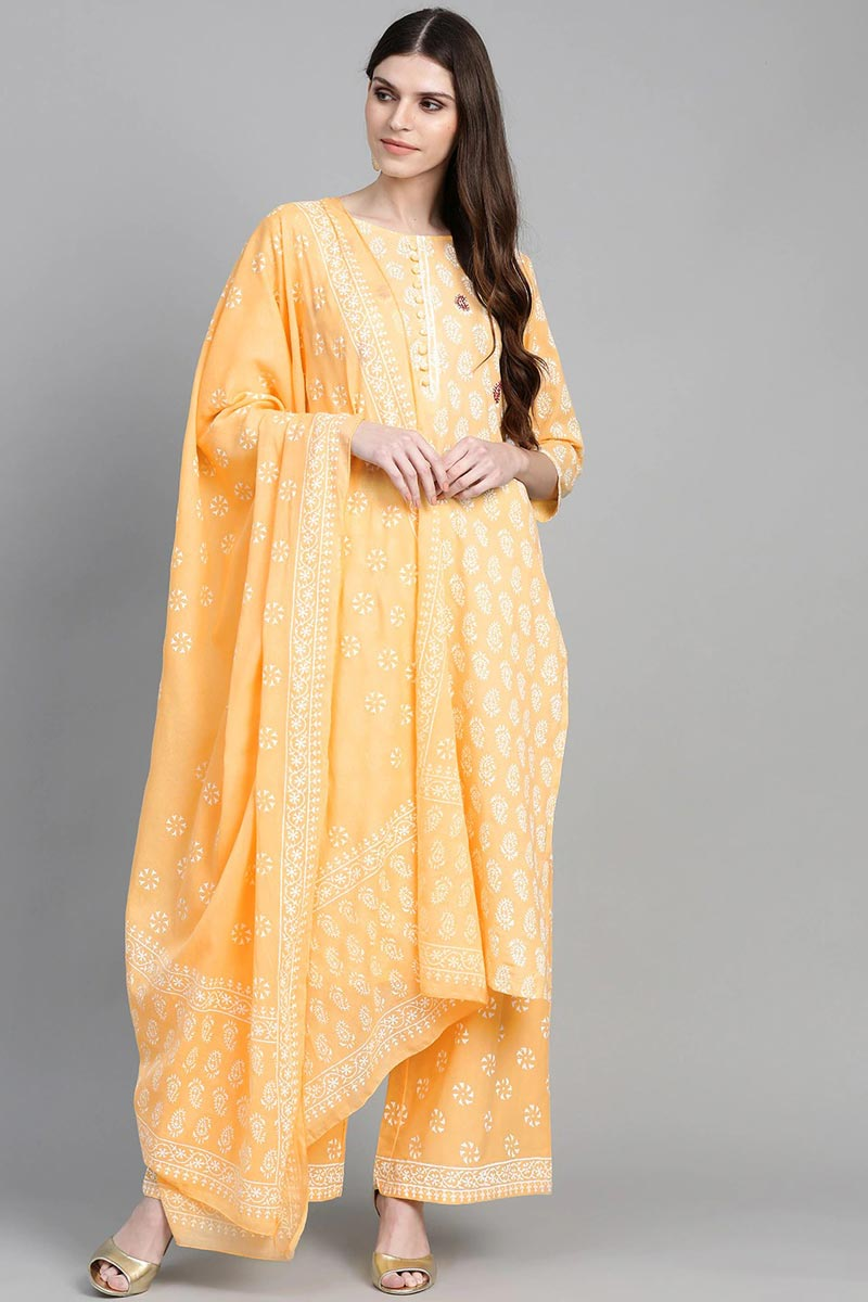 Exclusive Yellow Color Cotton Fabric Kurta Bottom Dupatta  Set