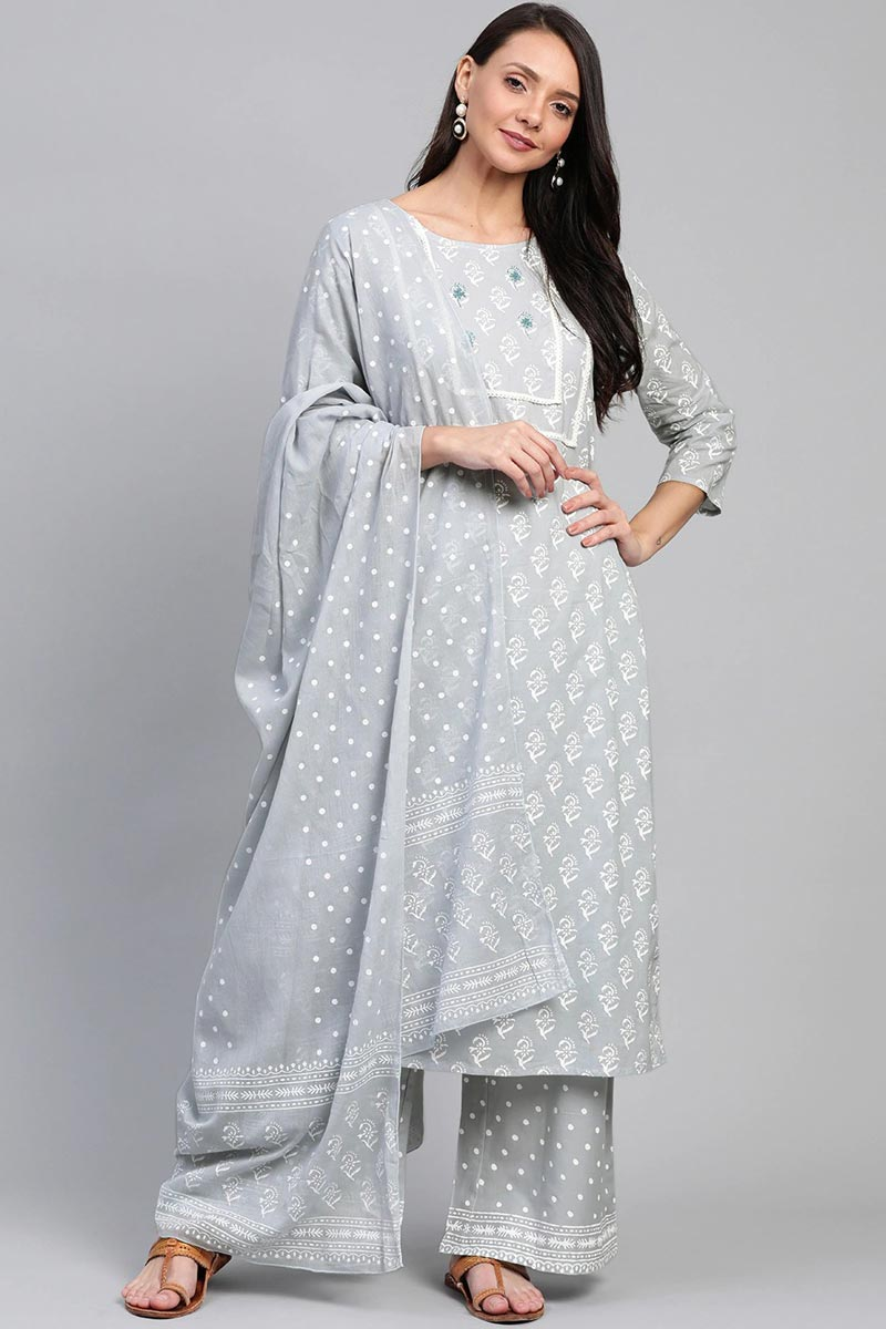 Exclusive Grey Color Cotton Fabric Kurta Bottom Dupatta  Set