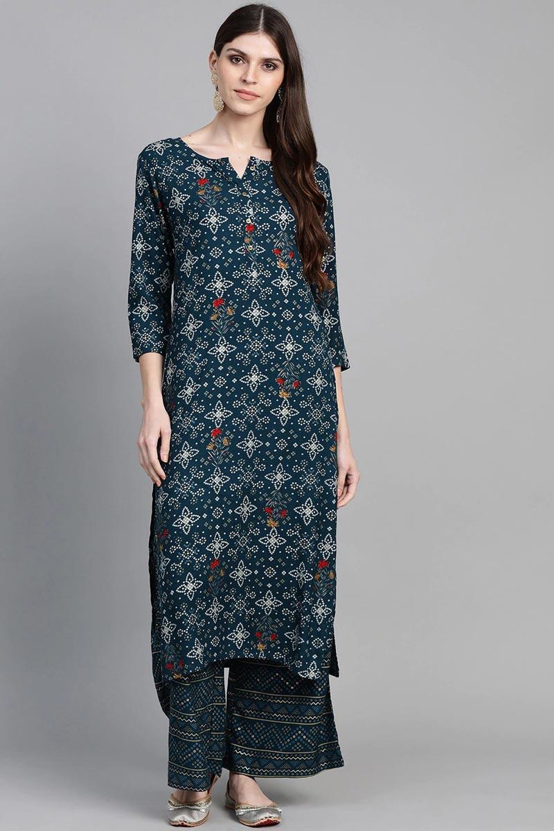 Exclusive Teal Color Viscose Fabric Kurta With Bottom Set
