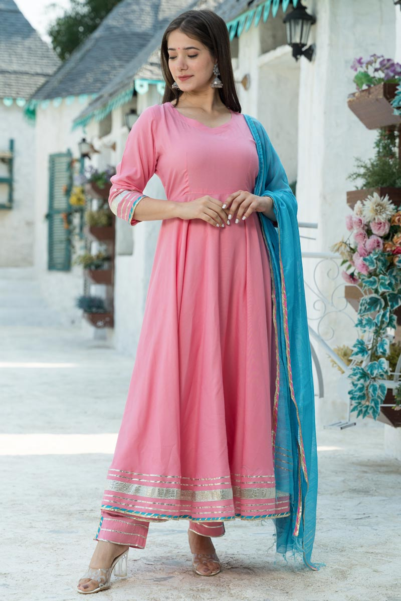 Exclusive Readymade Pink Color Kurti With Dupatta