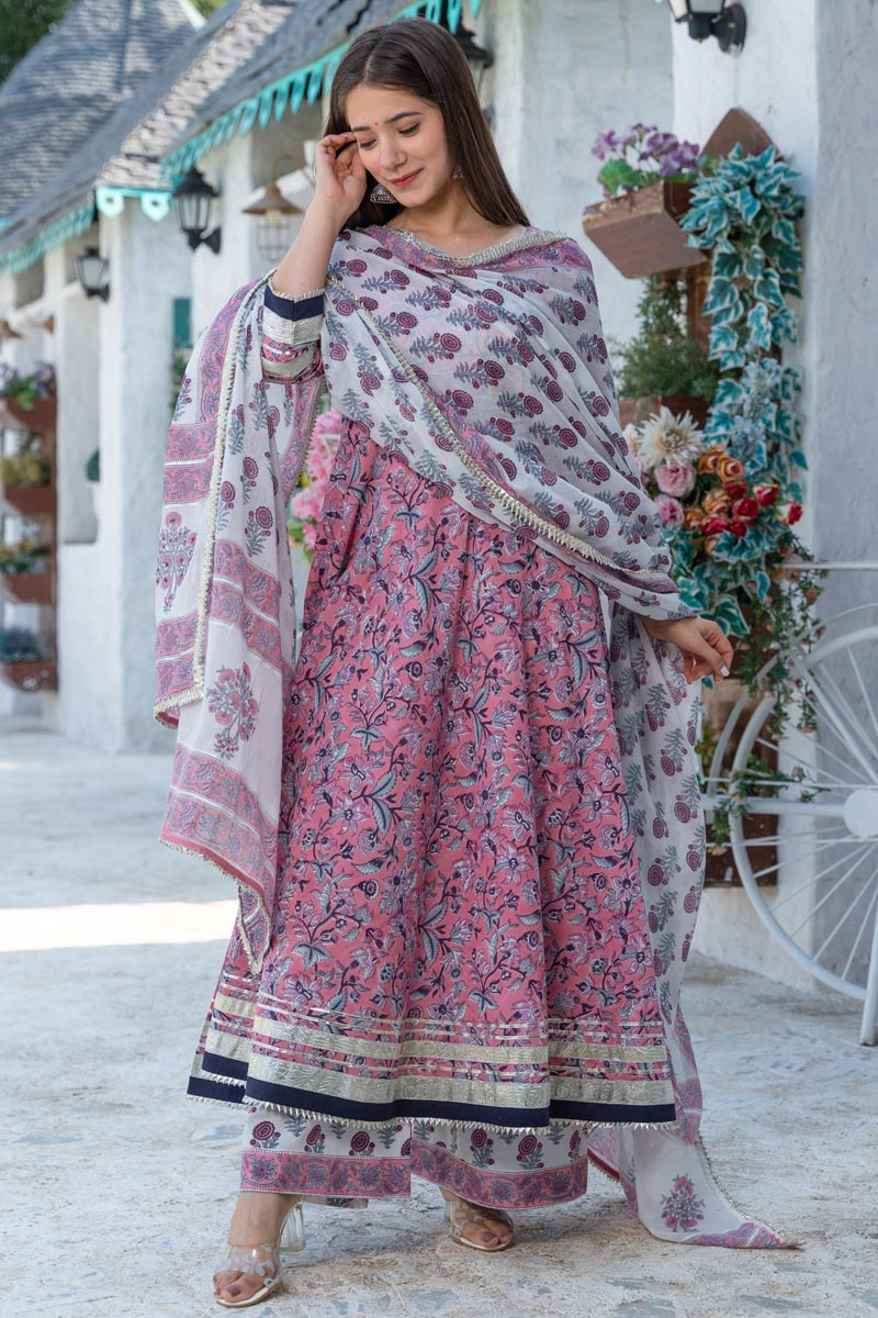 Exclusive Readymade Pink Color Hand Block Print Kurti With Dupatta