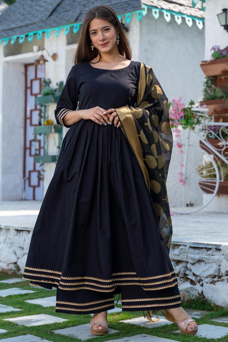 Exclusive Readymade Black Color Cotton Kurti With Chanderi Dupatta