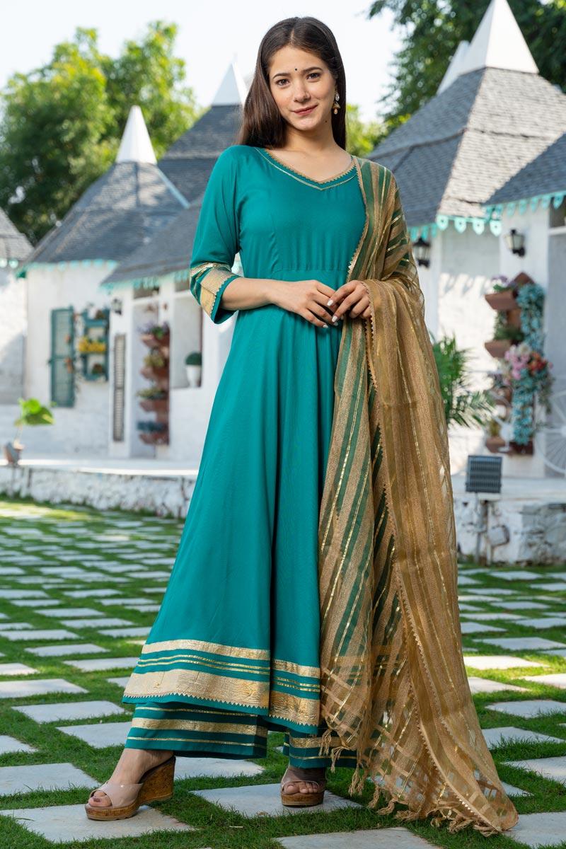 Exclusive Readymade Cyan Color Kurti With Dupatta