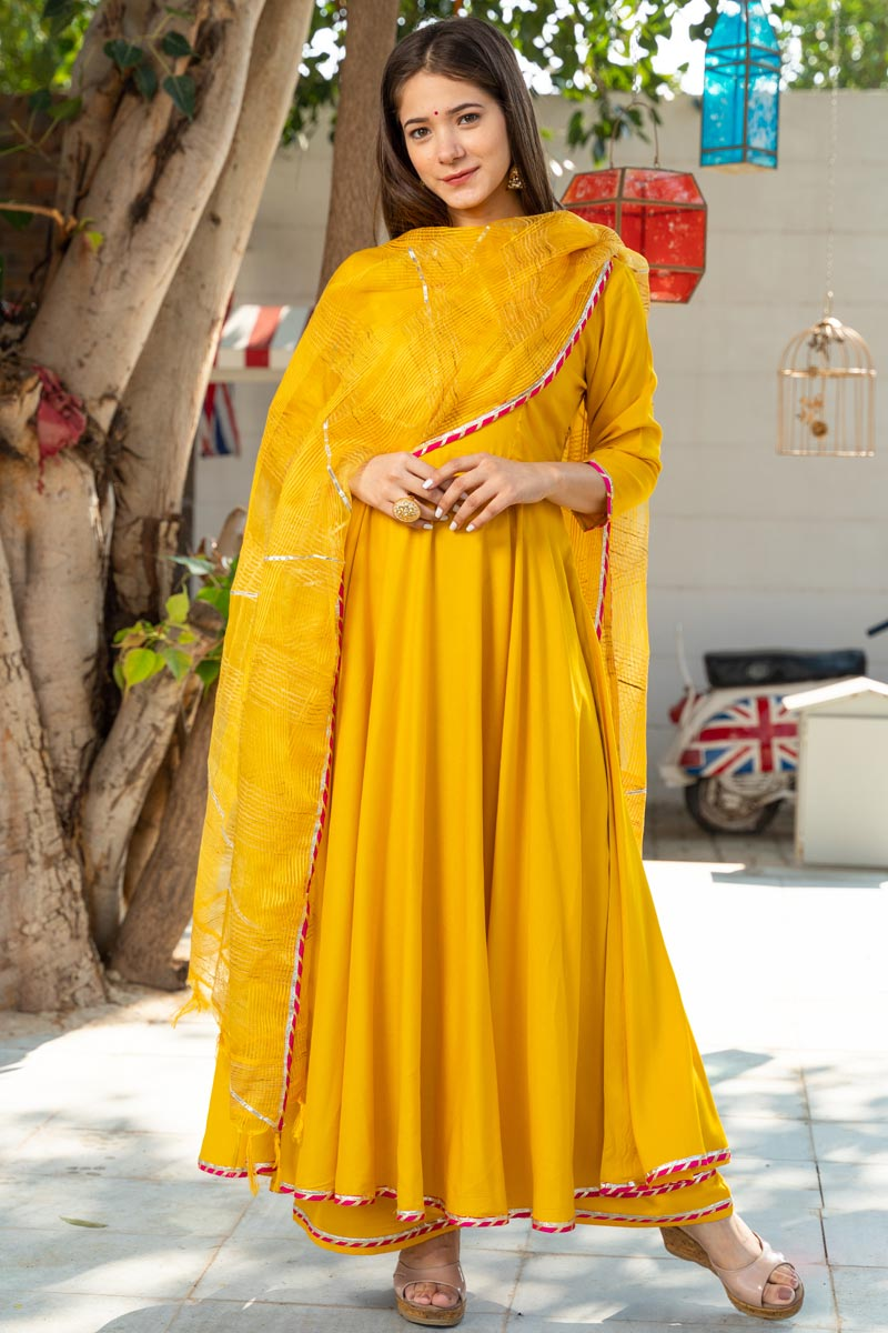 Exclusive Readymade Yellow Color Kurti With Dupatta