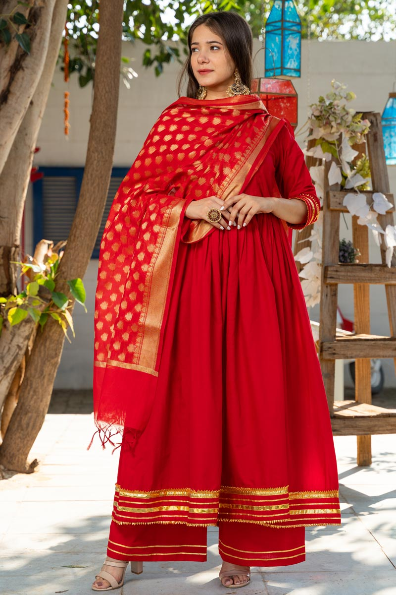 Exclusive Readymade Royal Red Color Kurti With Chanderi Dupatta