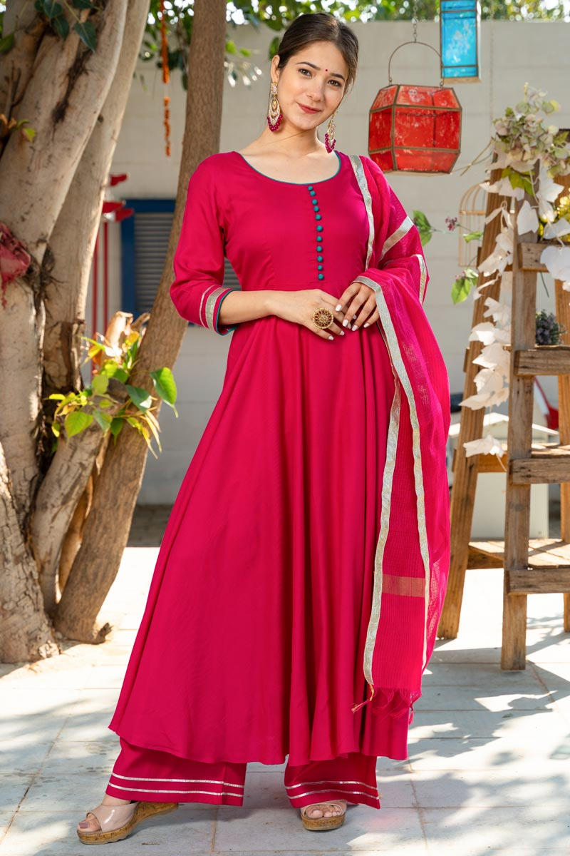 Exclusive Readymade Rani Color Kurti With Doria Dupatta
