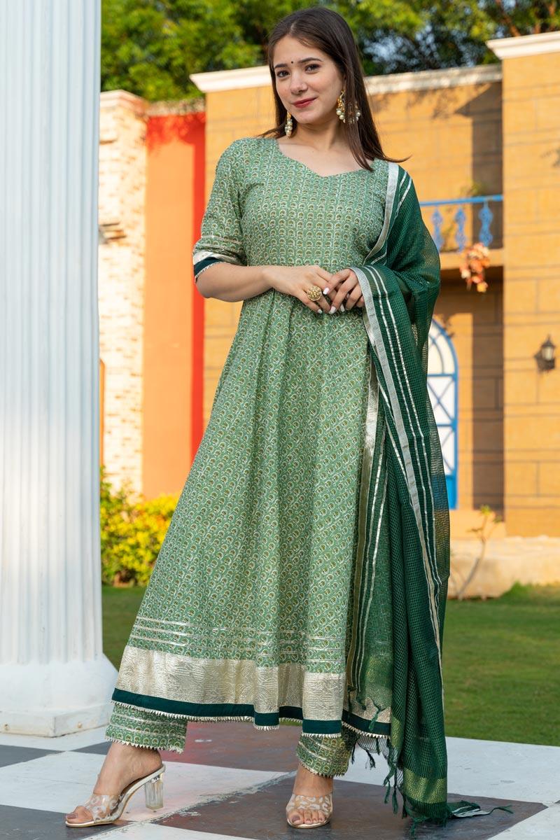 Exclusive Readymade Sea Green Color Motif Print Kurti With Dupatta