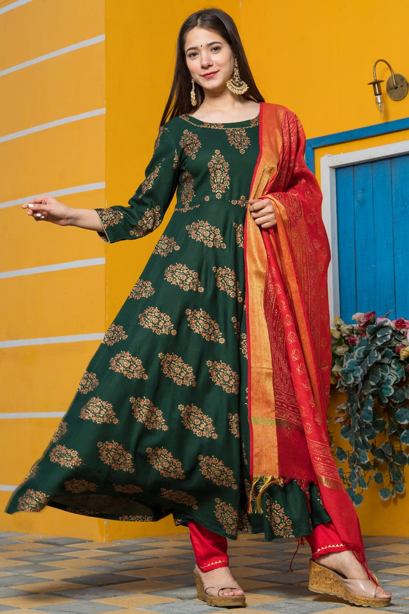 Exclusive Readymade Dark Green Color Kurti With Dupatta