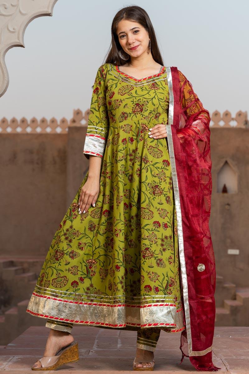 Exclusive Readymade Green Color Kalamkari Print Kurti With Dupatta