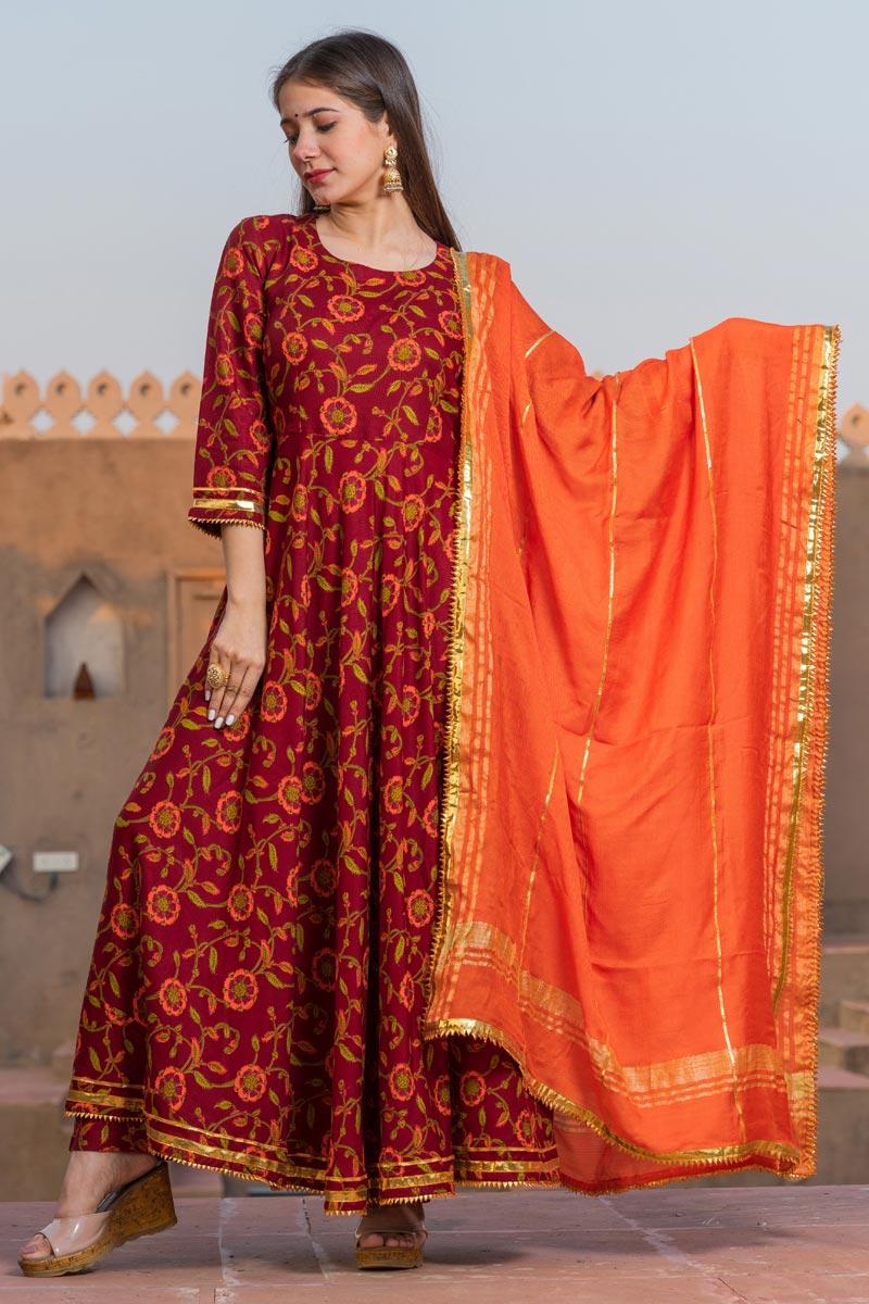 Exclusive Maroon Color Kalamkari Print Kurta Dupatta Set In Rayon Fabric