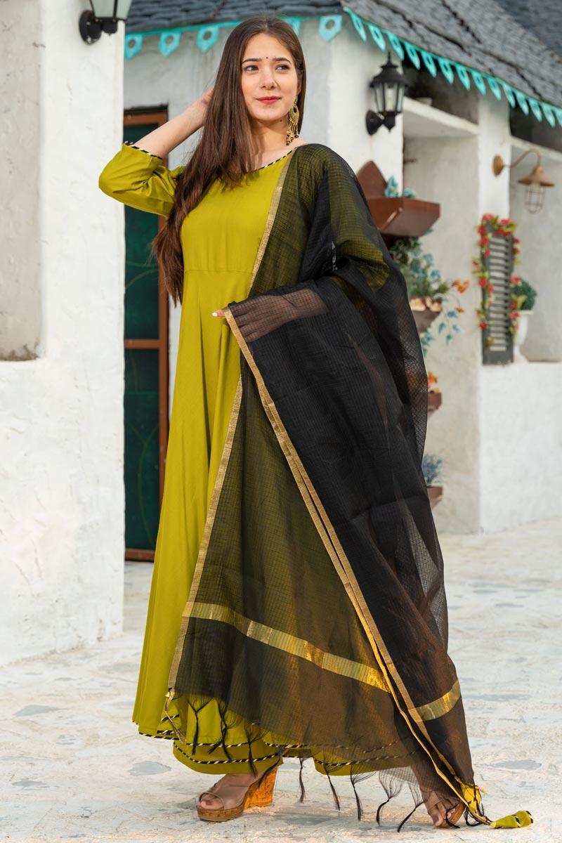 Exclusive Green Color Rayon Fabric Kurta Dupatta Set