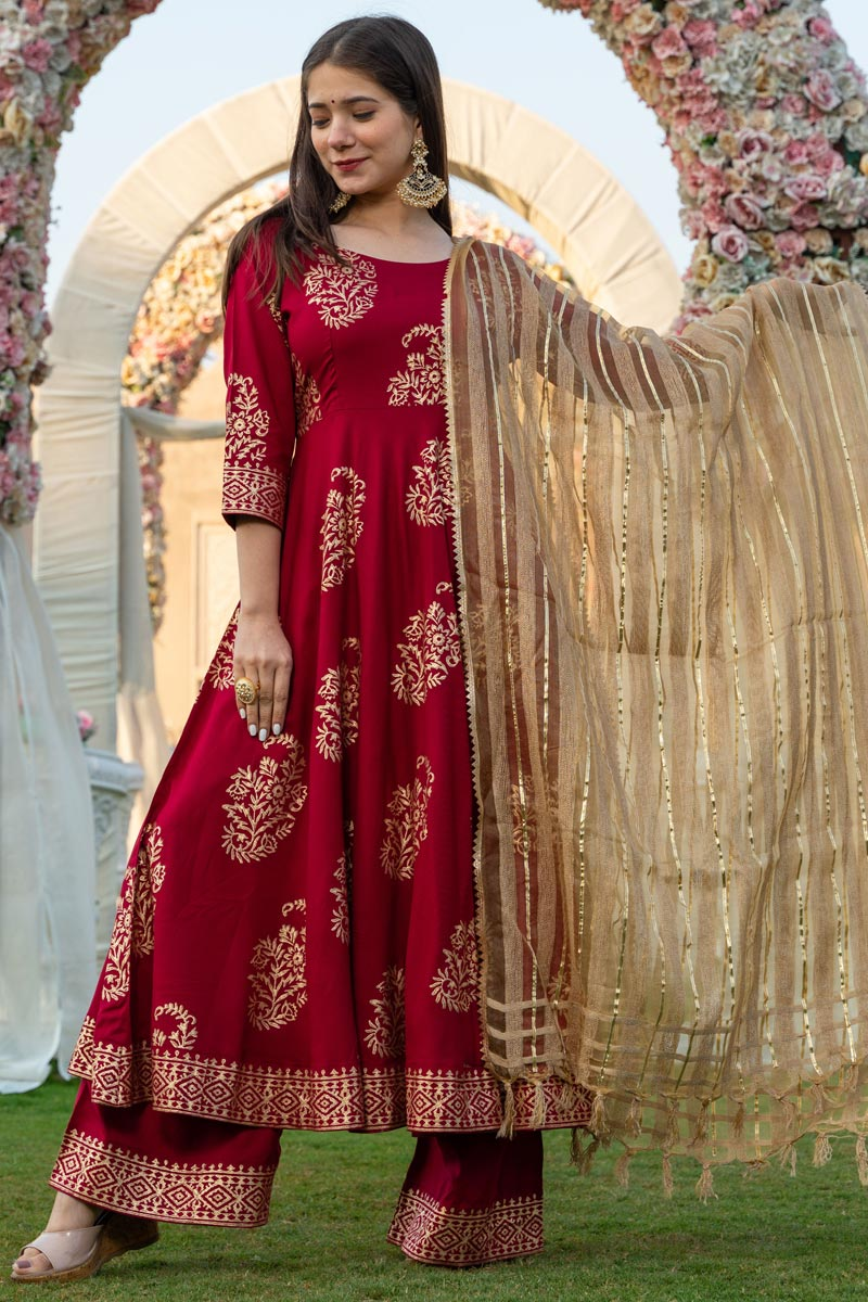 Exclusive Maroon Color Hand Block Print Kurta Dupatta Set In Rayon Fabric