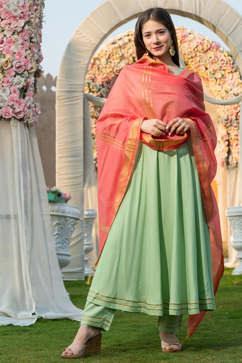 Exclusive Rayon Fabric Sea Green Color Kurta Dupatta Set