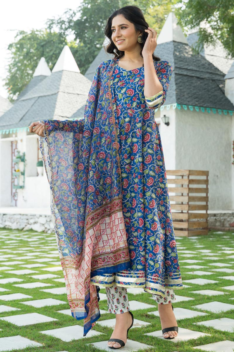 Exclusive Blue Color Kurta Set With Dupatta In Cotton Fabric