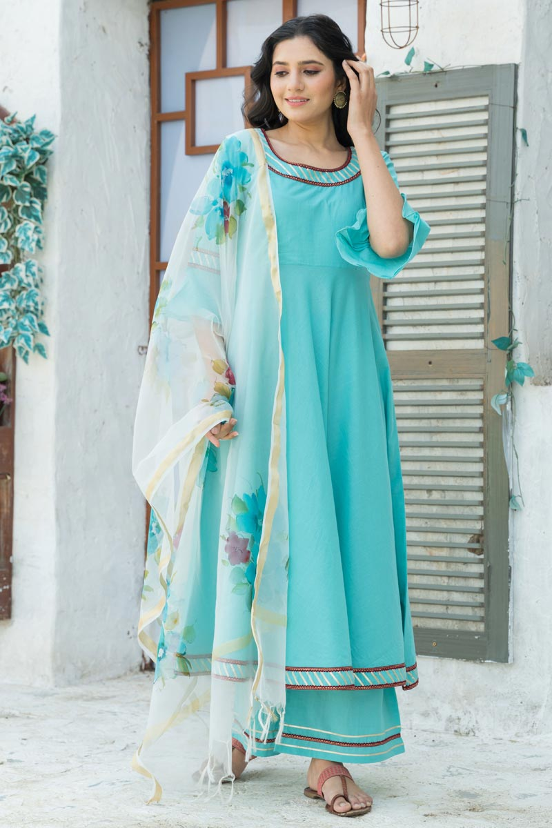 Exclusive Cotton Fabric Cyan Color Kurta Set With Fancy Dupatta