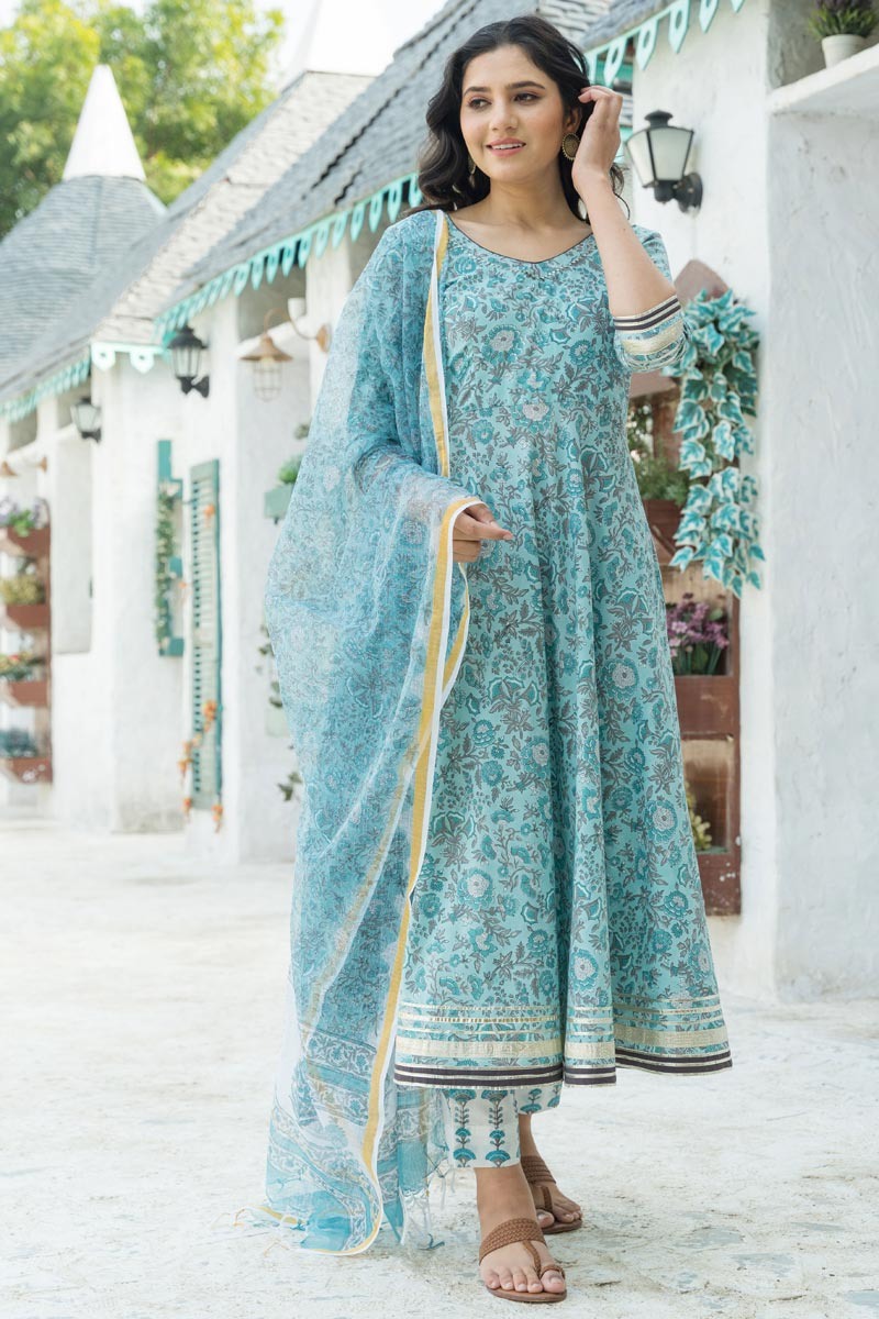 Exclusive Cyan Color Cotton Fabric Kurta Set With Dupatta