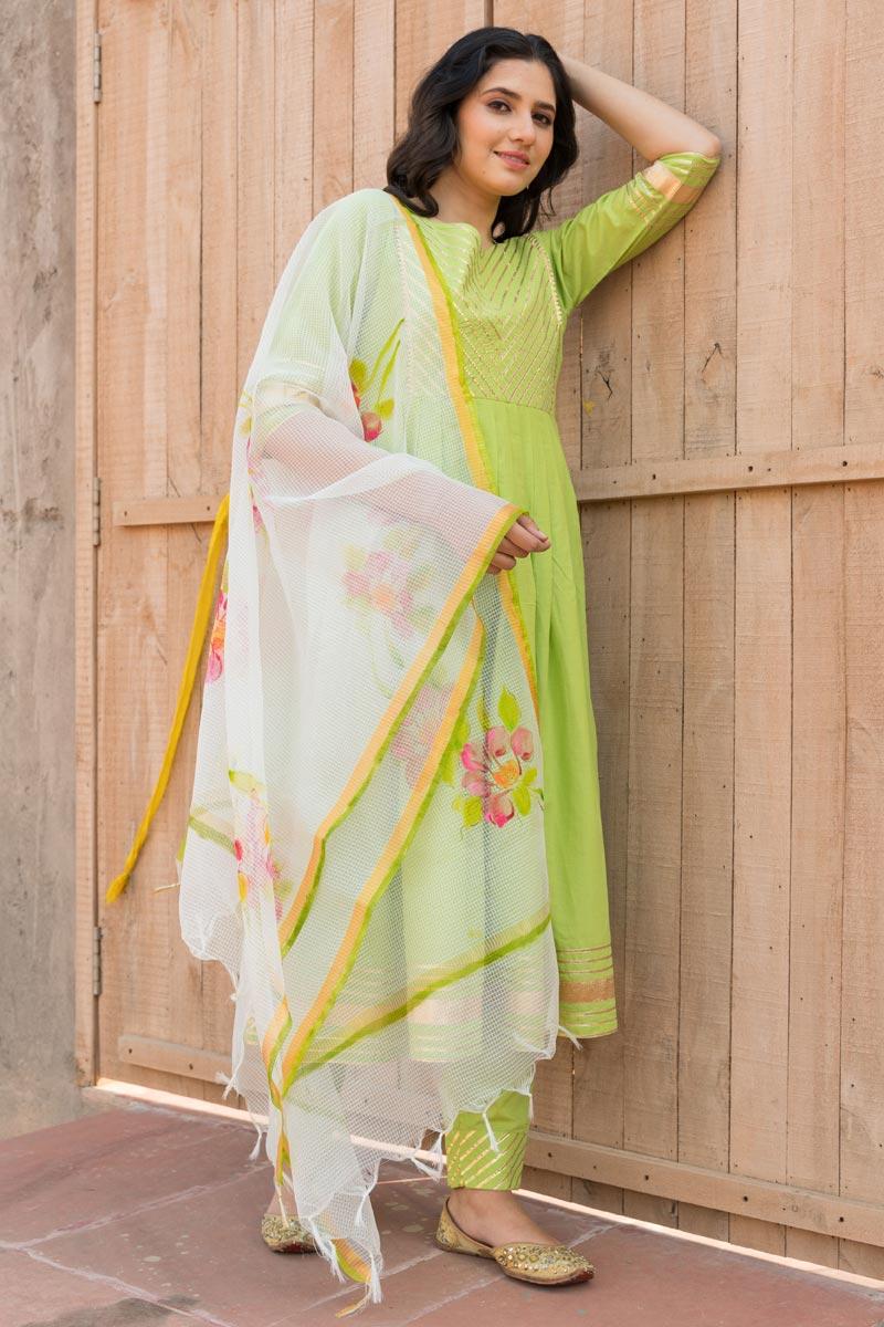 Exclusive Cotton Fabric Green Color Kurta Set With Dupatta