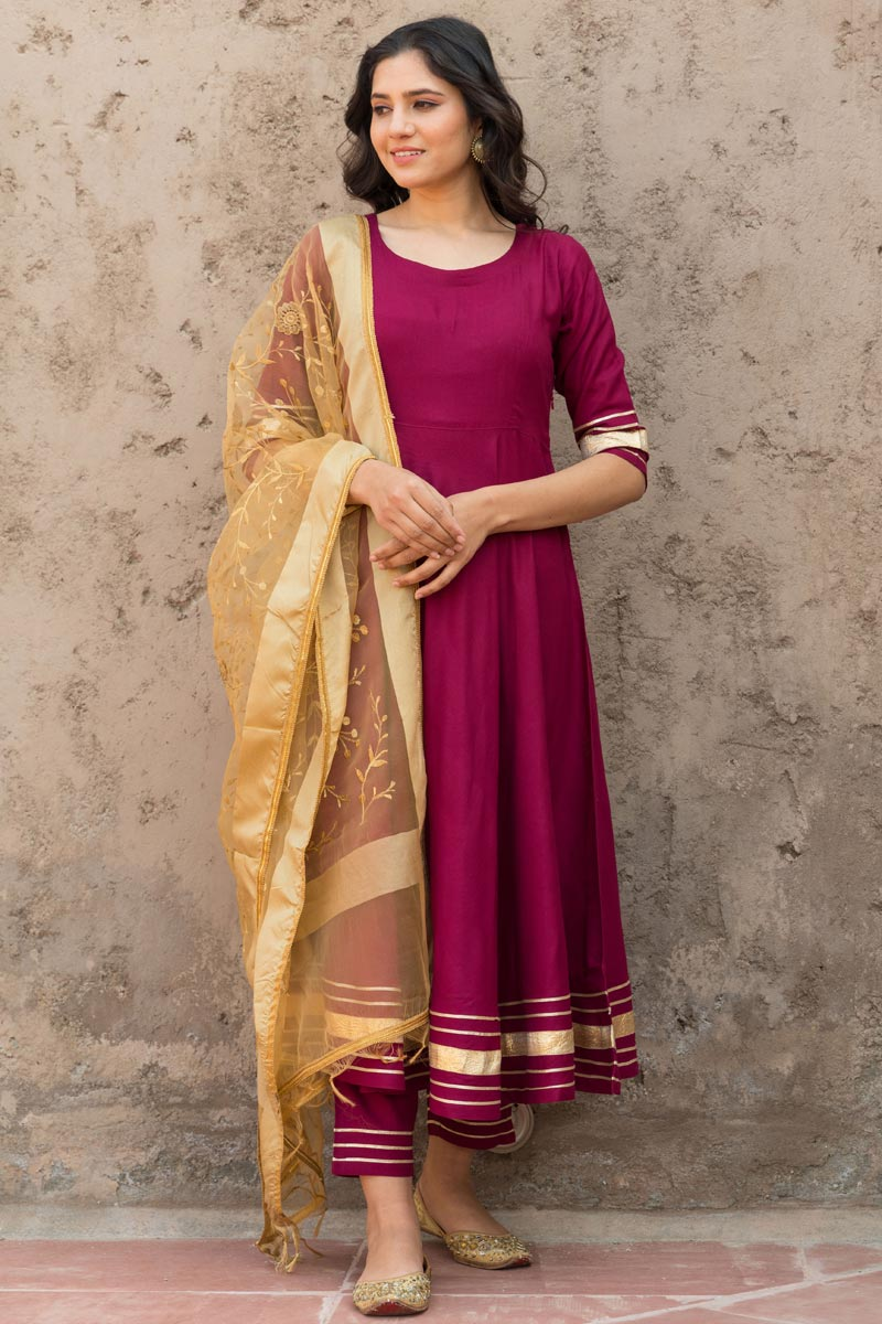 Exclusive Rayon Fabric Wine Color Kurta Dupatta Set