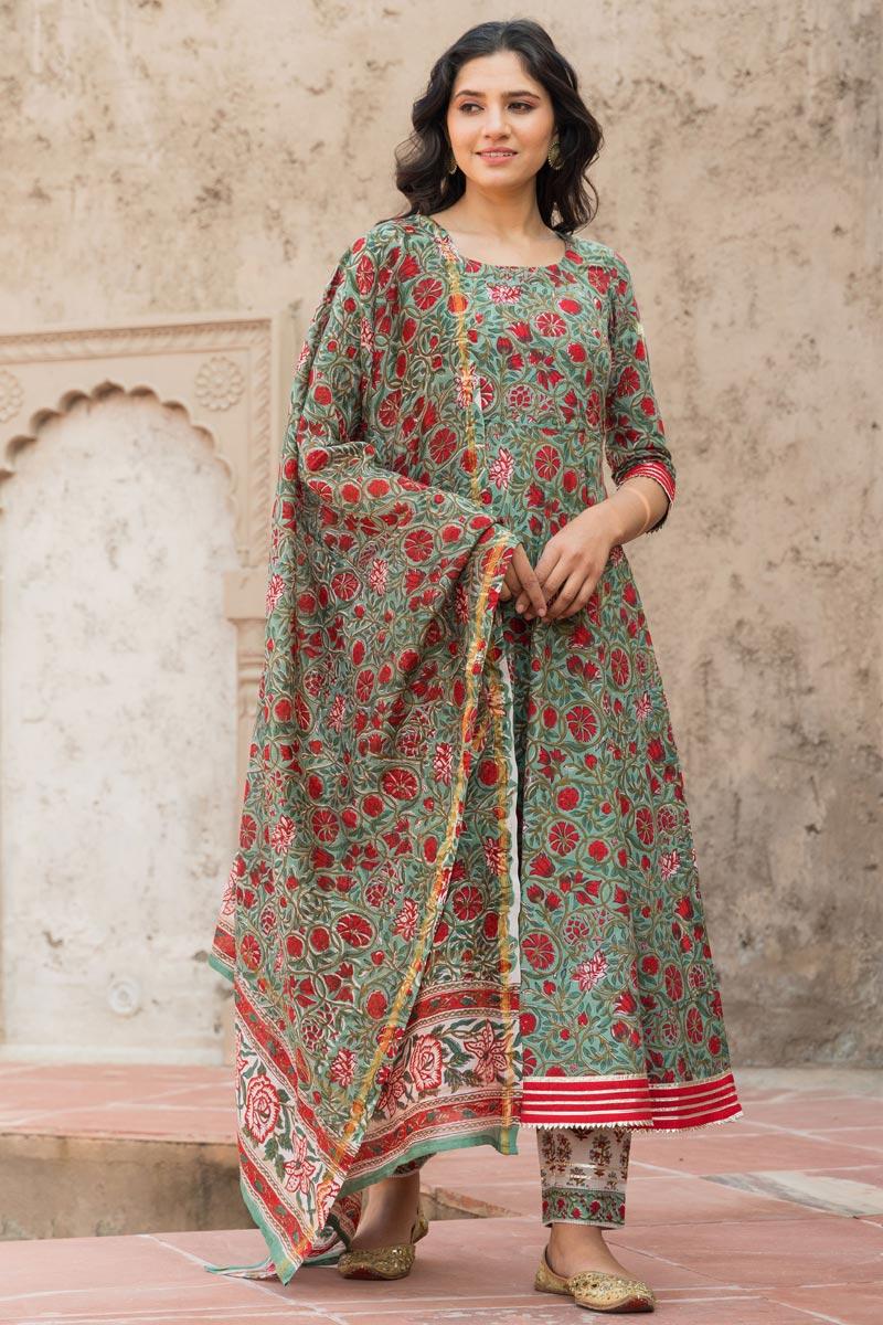 Exclusive Cotton Fabric Cyan Color Kurta Set With Dupatta