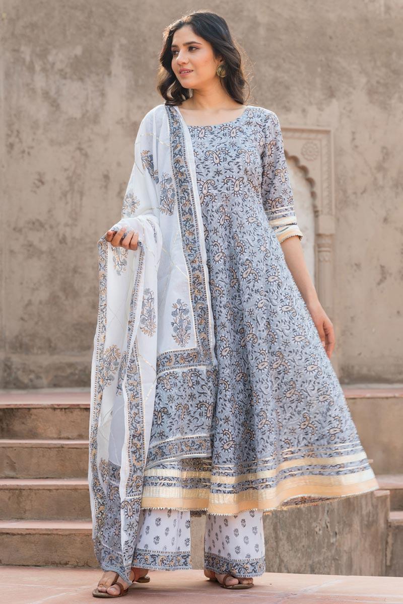 Exclusive Grey Color Kurta Dupatta Set In Cotton Fabric