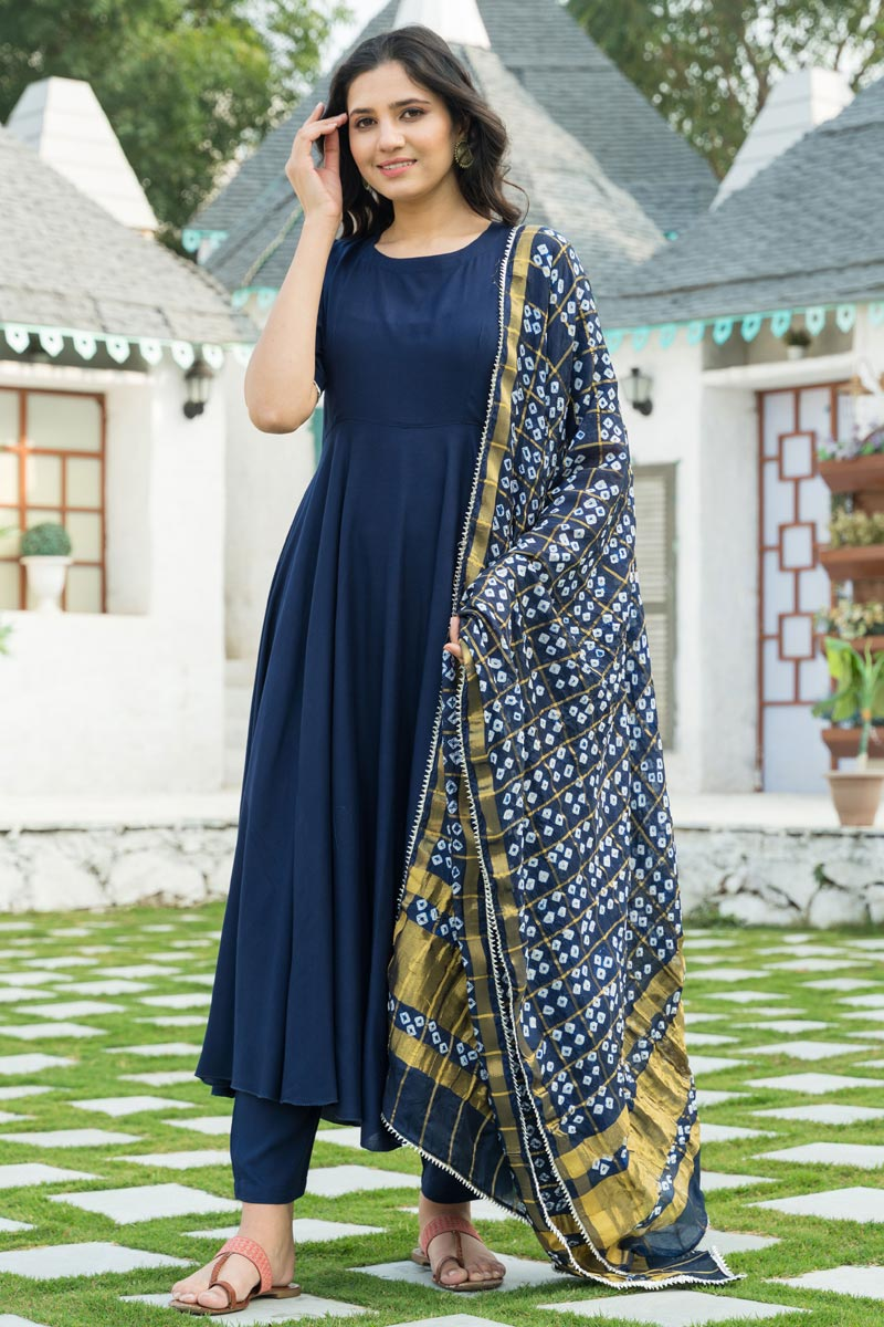 Exclusive Navy Blue Color Kurta Set With Bandej Dupatta In Rayon Fabric