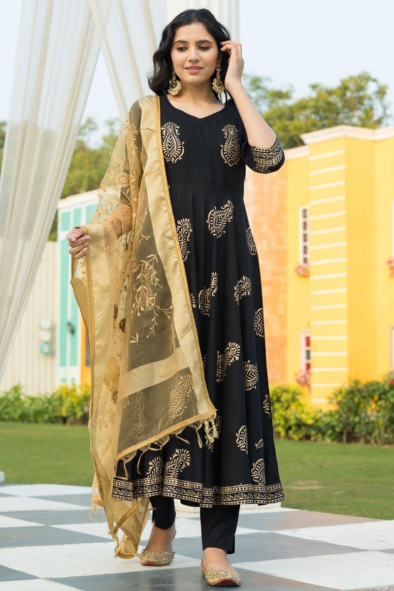 Exclusive Black Color Rayon Fabric Printed Kurta Dupatta Set