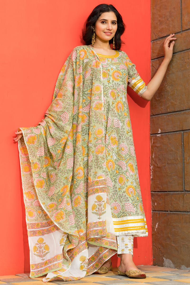 Exclusive Sea Green Color Cotton Fabric Printed Kurta Dupatta Set