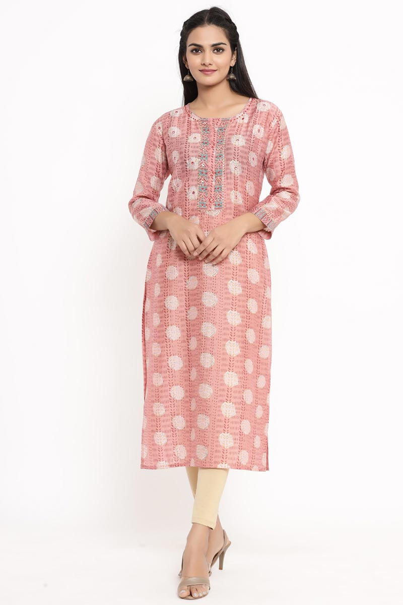 Exclusive Pink Color Rayon Fabric Fancy Kurti