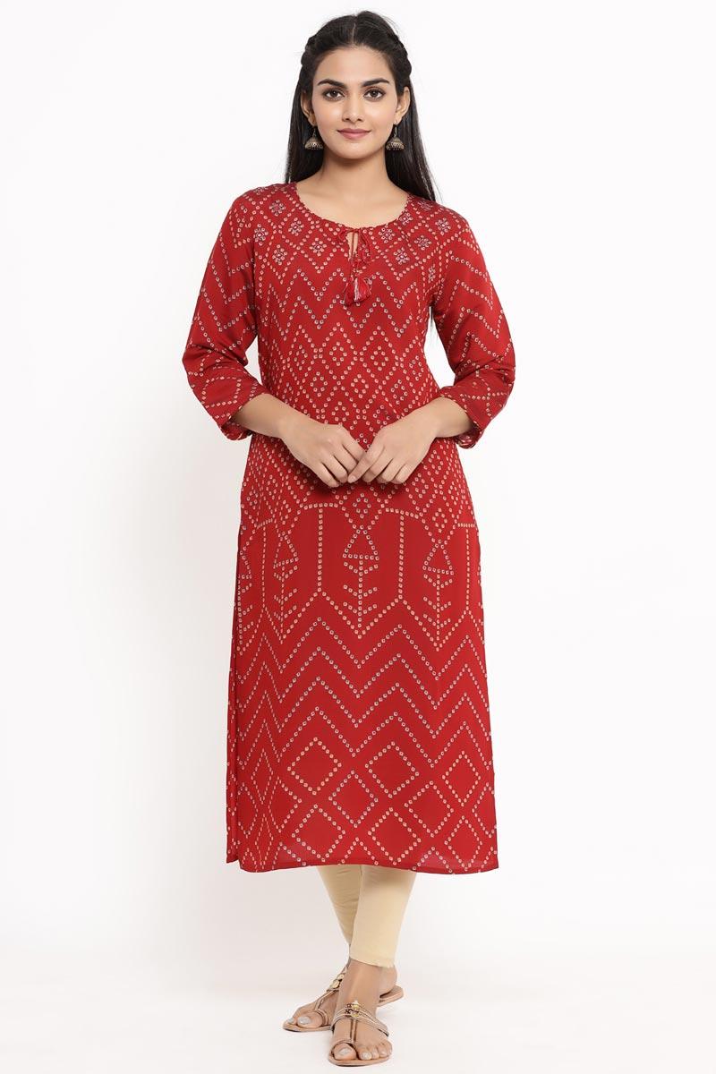 Exclusive Red Color Rayon Fabric Bandhani Kurti