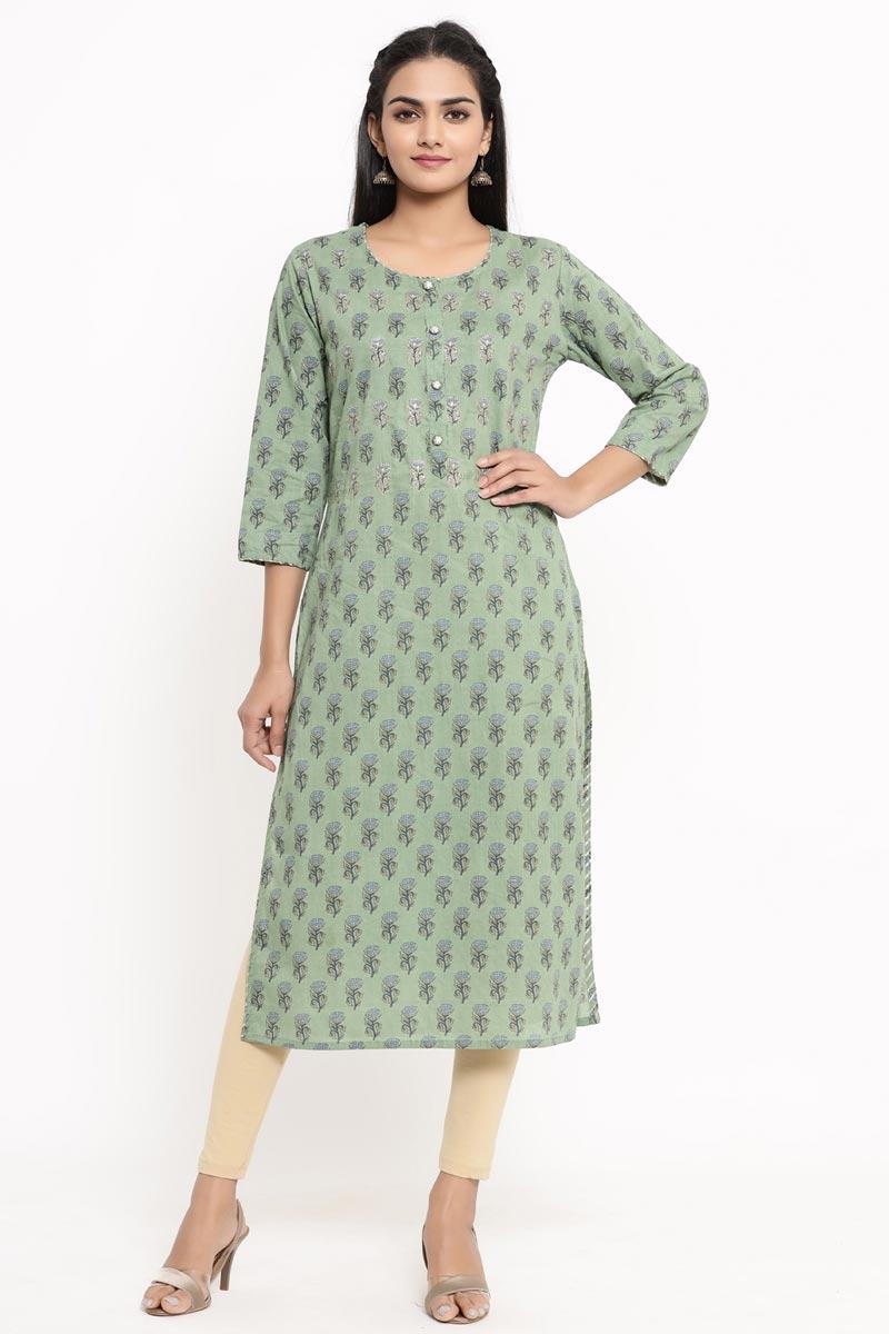 Exclusive Sea Green Color Cotton Fabric Kurti