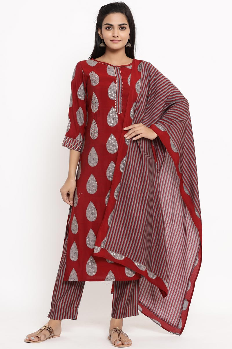 Exclusive Maroon Color Rayon Fabric Readymade Salwar Suit
