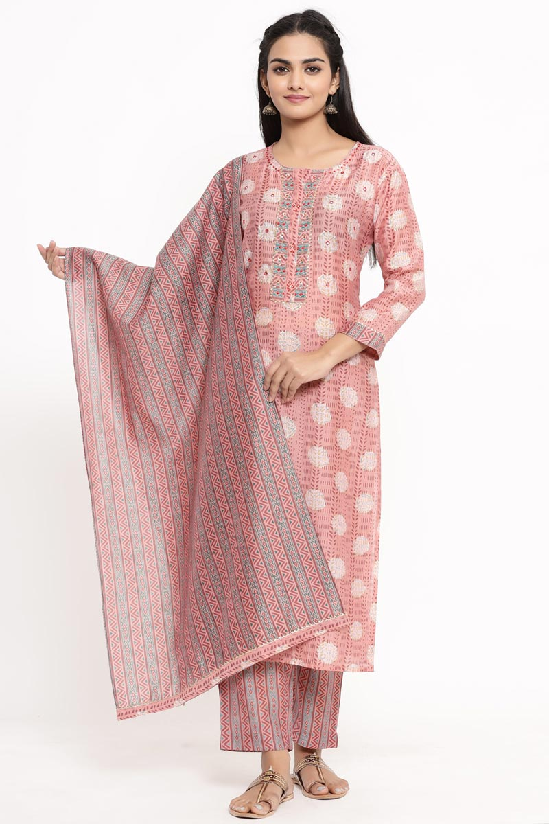 Exclusive Pink Color Rayon Fabric Readymade Salwar Suit