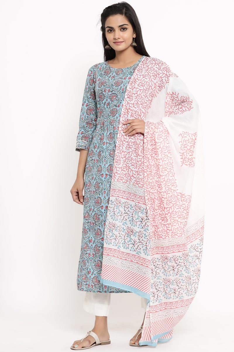 Exclusive Light Cyan Color Cotton Fabric Readymade Salwar Suit