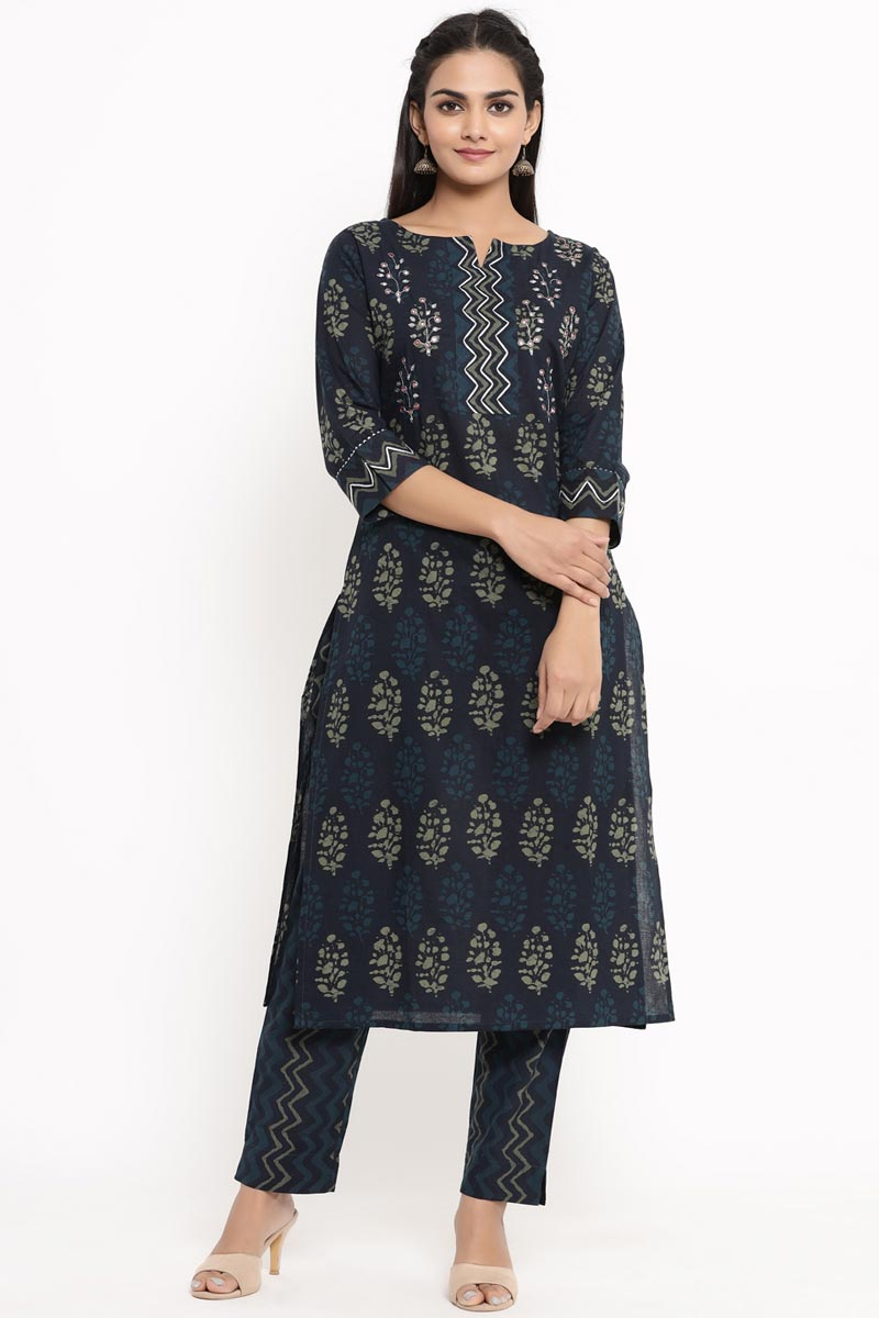 Exclusive Navy Blue Color Cotton Fabric Kurti With Bottom