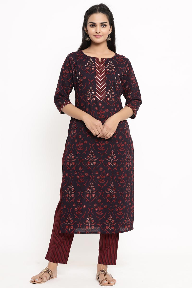 Exclusive Wine Color Cotton Fabric Kurti With Bottom