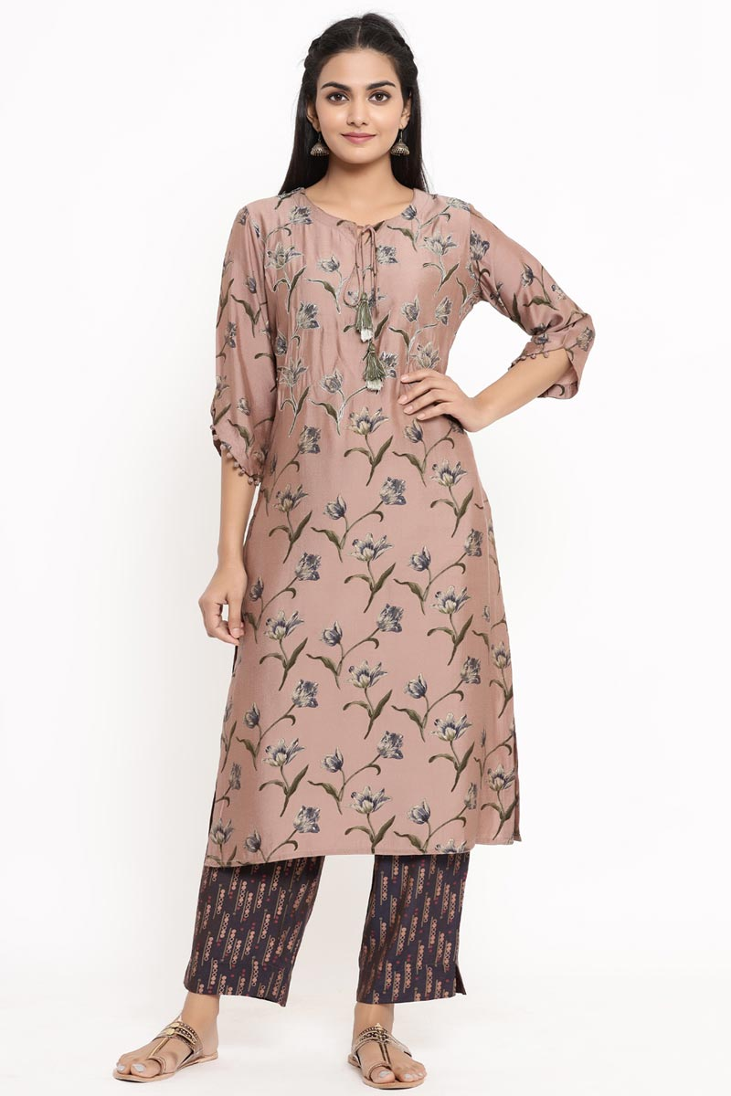 Exclusive Chikoo Color Rayon Fabric Kurti With Bottom